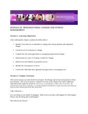 Chapter 18 - Organizational Change and Stress Management - Module