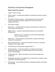 exam 2 study guide prod mngmt