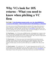 Why VCs look for 10X returns
