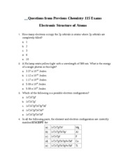 Questions from Previous Chemistry 115 Exams Electronic Structure of Atoms