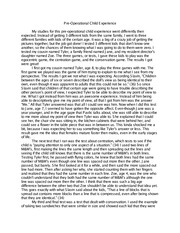 Childhood experience essay