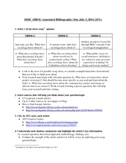 SOCI 1010 - Annotated Bibliography Requirements