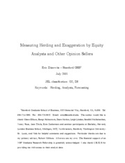 Measuring Herding and Exaggeration by Equity Analysts and Other Opinion Sellers