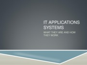 IT Applications systems
