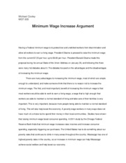 Minimum Wage Increase Argument ASSIGNMENT 1