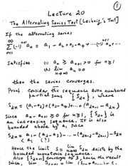 lecture 20 (Alternating Series)