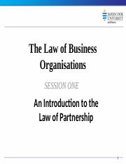 Law of Business Organisations Session 1 2014