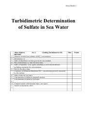 Turbidimetric Determination of Sulfate in Sea Water