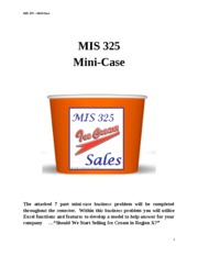 Mini-Case -  Ice Cream Decison-Support Modeling