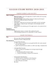 GLG EXAM NOTES