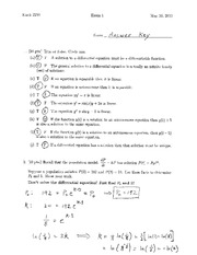Sample Exam 1 Solution Summer 2014 on Differential Equations and Linear Algebra