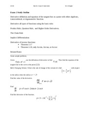 Mat 254 Ex#2 Study Guide Fall 2014