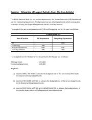 Lecture 9 - Support Dept Costs Allocation (Question)