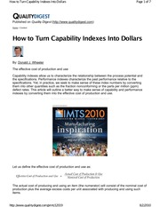 Wheeler - How to turn Capability into Dollars