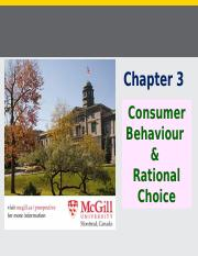 Chapter 3 (Consumer Behaviour and Rational Choice), Fall 2016 (1)