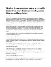 Member States commit to reduce preventable deaths from heart disease and stroke.docx