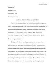 An argument essay about immigration