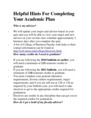 Helpful Hints For Completing Your Academic Plan