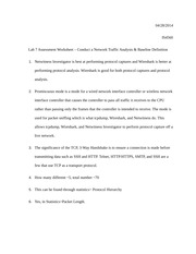 Lab 7 Assessment Worksheet – Conduct a Network Traffic Analysis & Baseline Definition