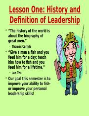 Lesson 1 History and Definition of Leadership.ppt