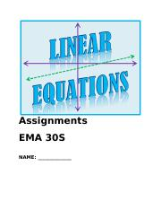 Linear Equations Assignment Booklet