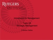 Introduction to Management- Session 2A Strategic Management