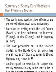 Summary of Sporty Cars  Roadsters Fuel Efficiency Testing.pptx