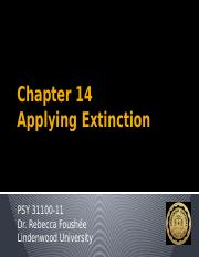 Chapter 14 - Applying Extinction