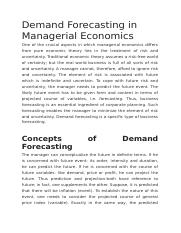 Demand Forecasting in Managerial Economics