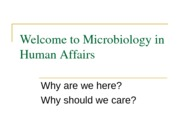 Welcome to Microbiology in Human Affairs