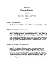 Money and Banking Problem Set 2.3 Answers