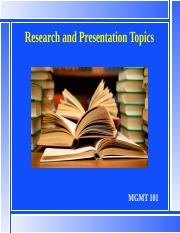 MGMT101 L8 31 March 17 Research and Presentation Projects bb