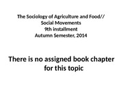 ninth installment.sociology of agriculture and food