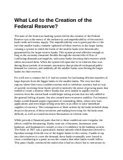 What Led to the Creation of the Federal Reserve.docx