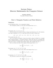 CS 311 Notes on Triangular Numbers and Their Relatives