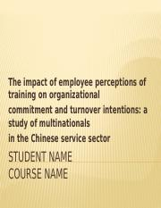employee perceptions of training on organizational