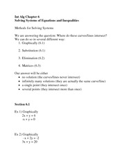 Solving Equations and inequalities via three methods notes