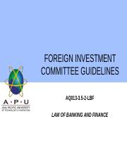 14 - FOREIGN INVESTMENT COMMITTEE GUIDELINES