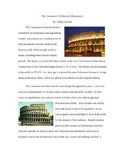 The Roman Colosseum Essay Sample
