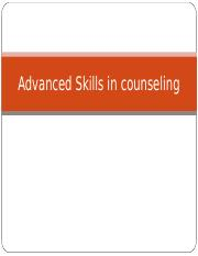 Advanced Skills in counseling