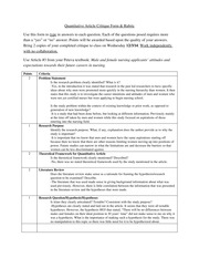 Quantitative Article Critique Form Homework