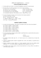 Chemical Equilibrium Solubility Equilibria Problems