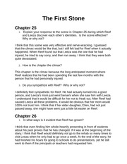 The First Stone  Chapter 25-28 HomeworkQuestions