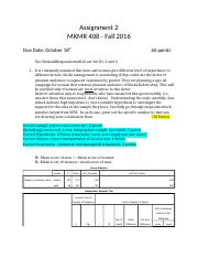 Assignment 2 Fl2016 Grading Key Corrected 1