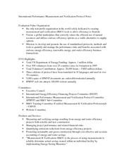 International Performance Measurement and Verification Protocol Notes