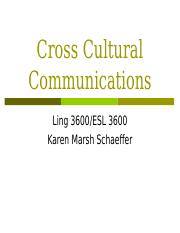 Cross Cultural Communications day 1-1