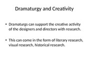 Dramaturgy and Creativity -2