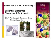 Chapter 9- The Periodic Table and Some Atomic Properties