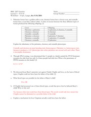 Beyond Mendelian Genetics Worksheet: Beyond Mendel Worksheet   BISC 2207 Genetics Lecture 5 9 9 14    ,