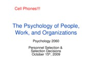 Lecture 6, Personnel Selection & Decision Making, Full Slides, Oct. 15th, 2009